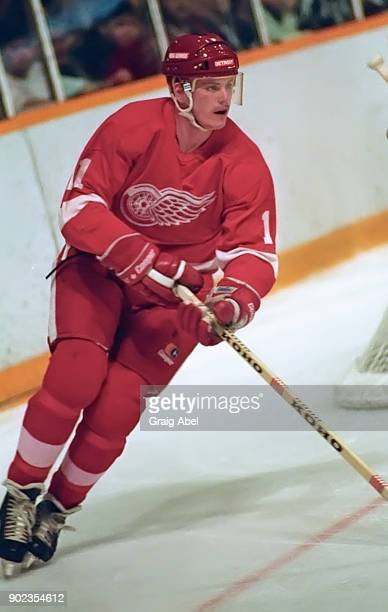 Shawn Burr of the Detroit Red Wings skates against the Toronto Maple Leafs during NHL game action on January 31 1987 at Maple Leaf Gardens in Toronto...