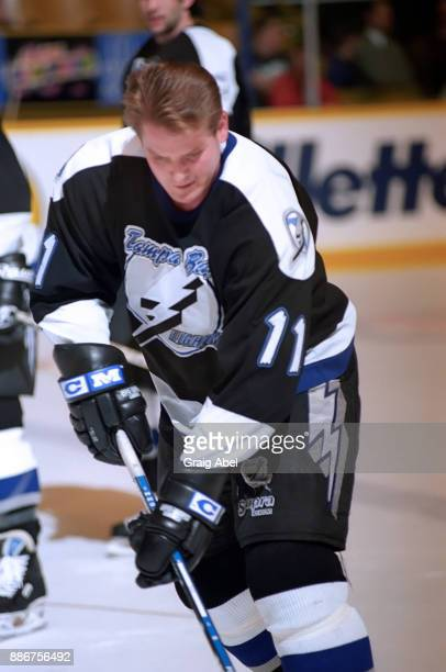 Shawn Burr of the Tampa Bay Lightning skates against the Toronto Maple Leafs during NHL game action on February 21 1996 at Maple Leaf Gardens in...