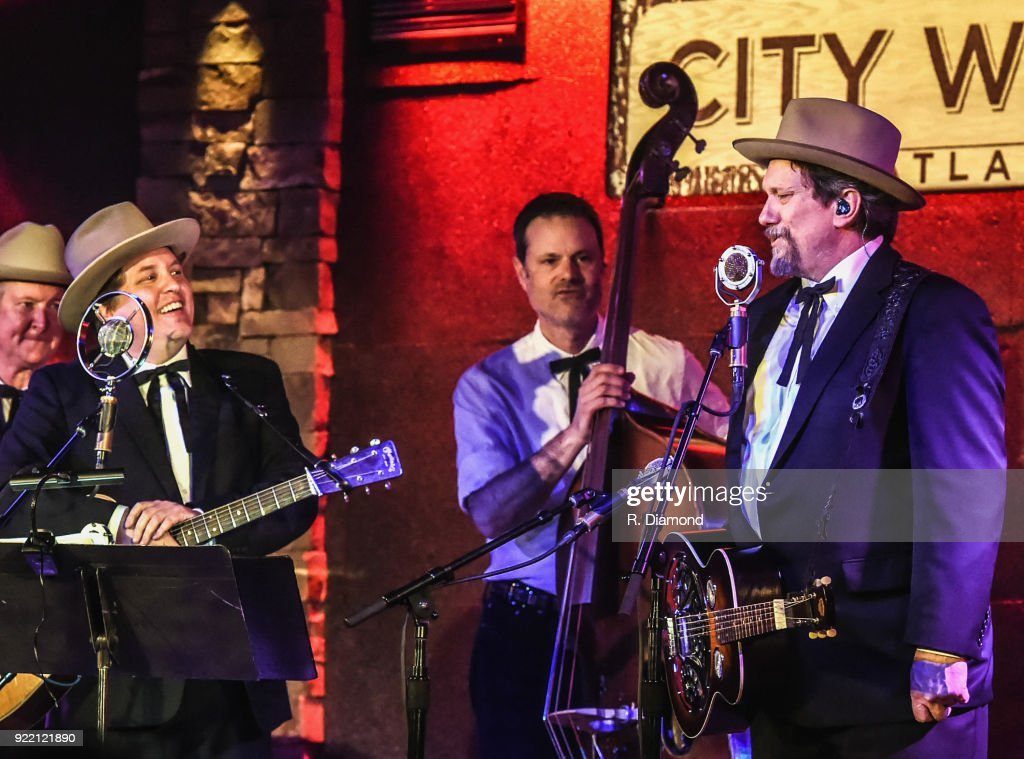 Shawn Camp, Barry Bates and Jerry Douglas of Earls of Leicester perform at City Winery on February 20, 2018 in Atlanta, Georgia.