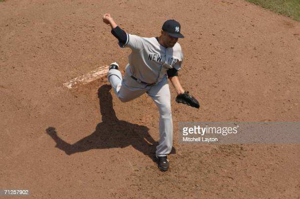 Shawn Chacon of the New York Yankees pitches during a baseball game against the Washington Nationals on June 17 2006 at RFK Stadium in Washington DC...