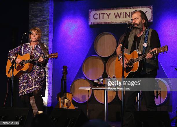 Shawn Colvin and Steve Earle of Covin Earle preform during Sirius Presents Steve Earle Shawn Colvin at City Winery on June 10 2016 in New York City