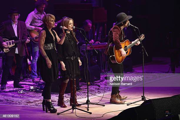 Shawn Colvin Patty Griffin and Conor Oberst perform on stage during The Life Songs of Emmylou Harris An All Star Concert Celebration at DAR...