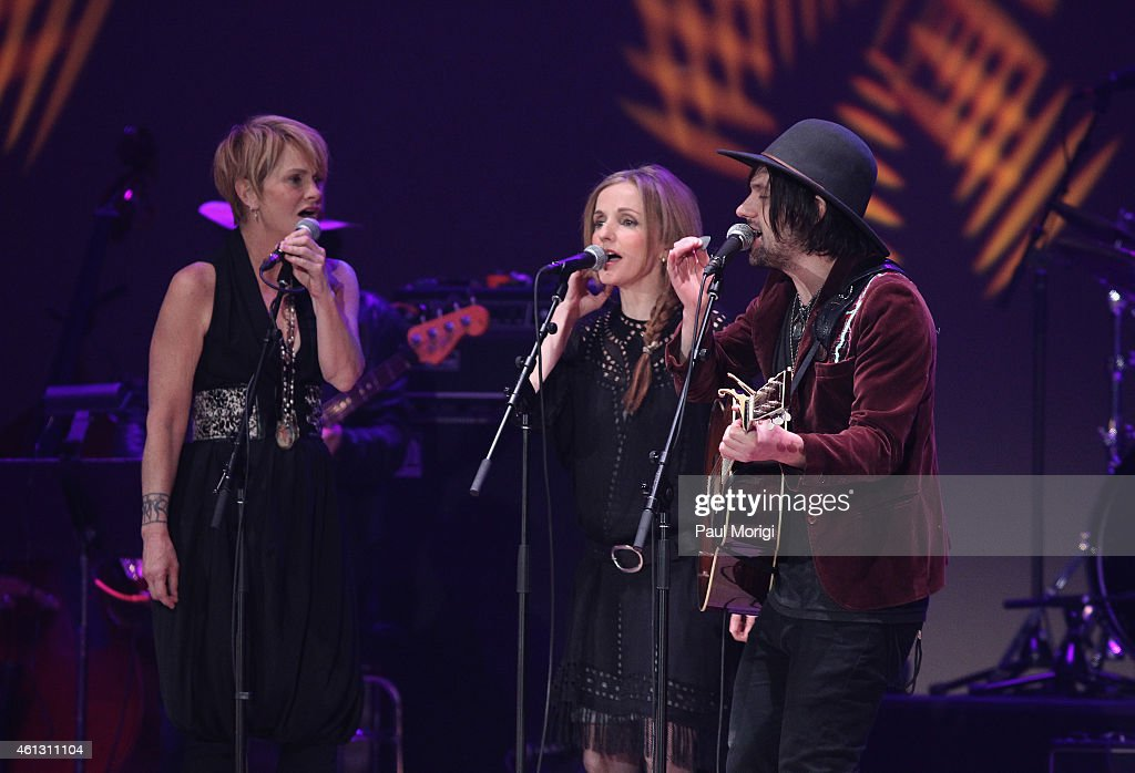 Shawn Colvin, Patty Griffin and Conor Oberst perform on stage during The Life & Songs of Emmylou Harris: An All Star Concert Celebration at DAR Constitution Hall on January 10, 2015 in Washington, DC.