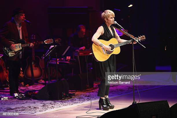 Shawn Colvin performs on stage during The Life Songs of Emmylou Harris An All Star Concert Celebration at DAR Constitution Hall on January 10 2015 in...