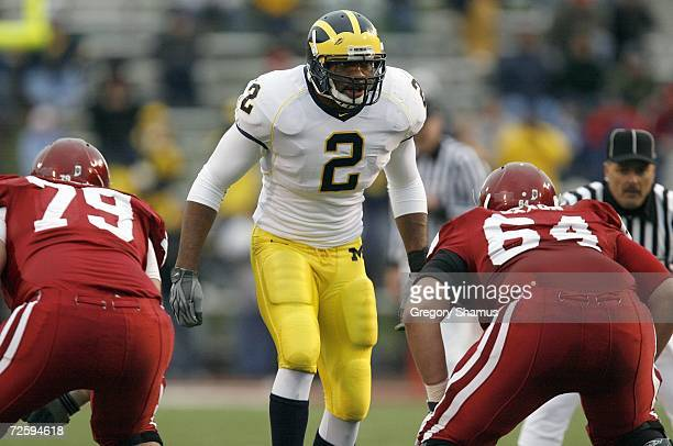 Shawn Crable of the Michigan Wolverines stands at the line of scrimmage during the game against the Indiana Hoosiers on November 11 2006 at Memorial...
