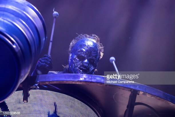 Shawn Crahan of Slipknot performs in concert at the Ericsson Globe Arena on February 21 2020 in Stockholm Sweden