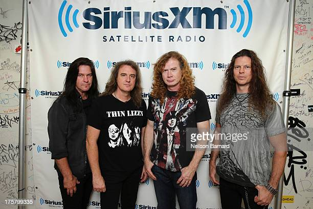 Shawn Drover David Ellefson Dave Mustaine and Chris Broderick of Megadeth visit SiriusXM Studios on August 8 2013 in New York City