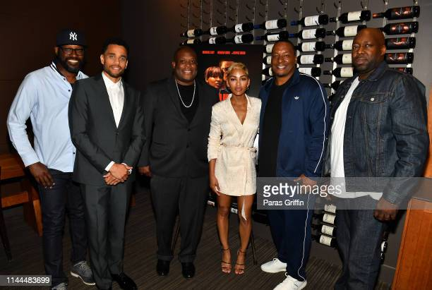 Shawn Edwards Michael Ealy Damien Douglas Meagan Good Deon Taylor and Omar Joseph attend The Intruder Atlanta Mixer at Allora on April 22 2019 in...