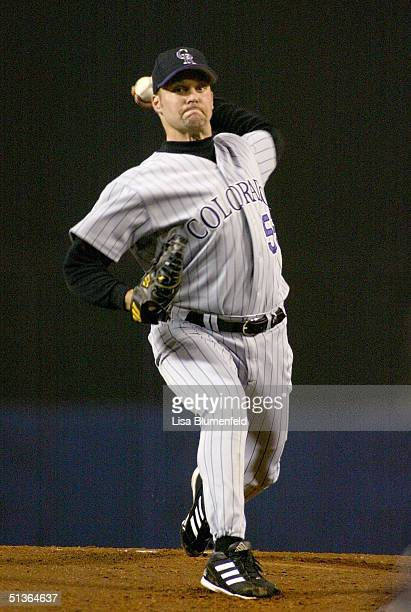 Shawn Estes of the Colorado Rockies pitches against the Los Angeles Dodgers in the first inning on September 27 2004 at Dodger Stadium in Los Angeles...