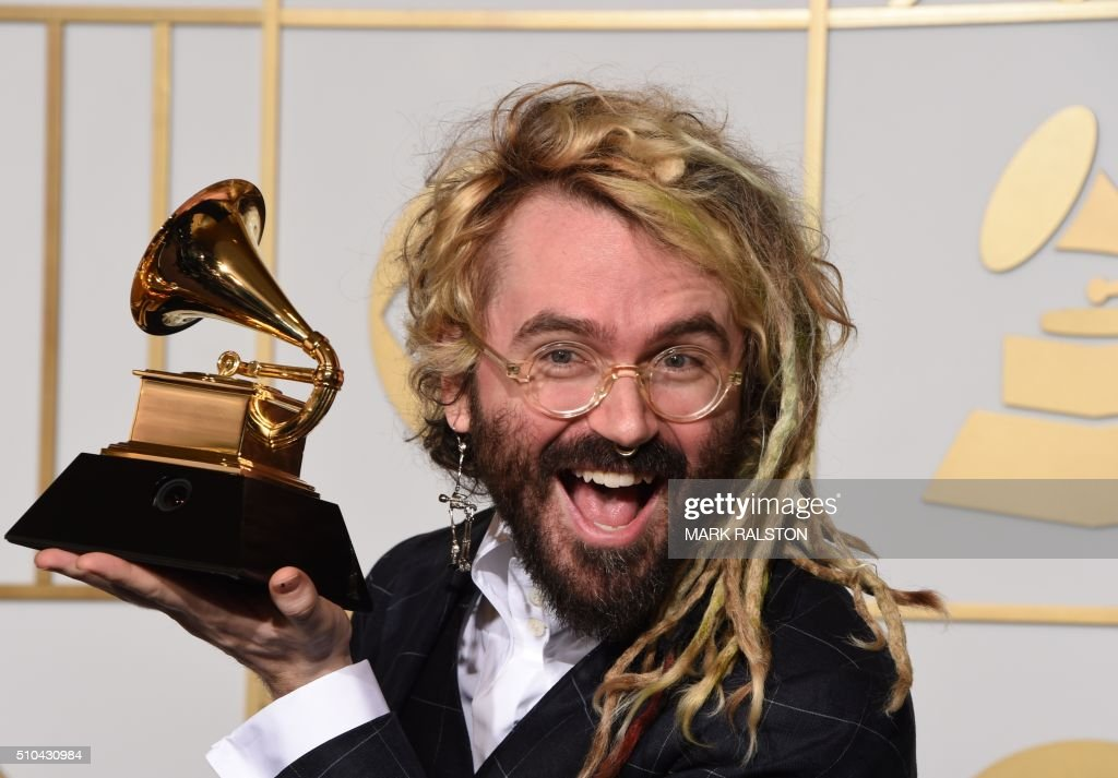Shawn Everett holds the trophy for Best Engineered Work (non-Classical) for 'Sound & Color' by Alabama Shakes in the press room during the 58th Annual Grammy Music Awards in Los Angeles on February 15, 2016.