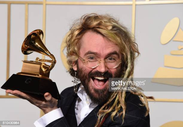 Shawn Everett holds the trophy for Best Engineered Work for Sound Color by Alabama Shakes in the press room during the 58th Annual Grammy Music...