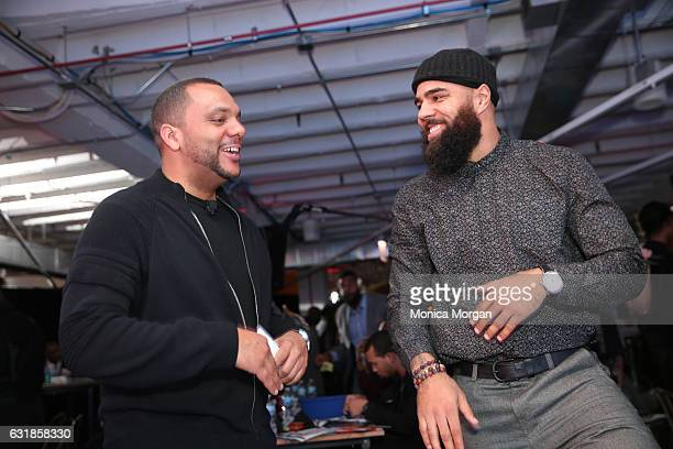 Shawn H WIlson and Detroit Lions linebacker DeAndre Levy attend 'Men Of Courage' Hold MLK Holiday Day Of Action on January 16 2017 in Chicago Illinois