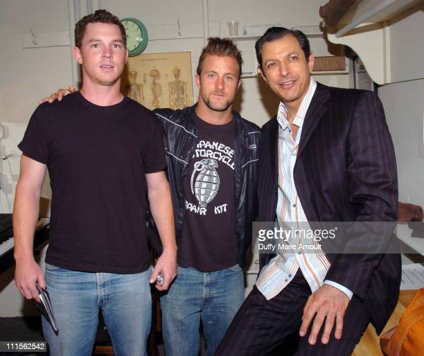 Shawn Hatosy Scott Caan and Jeff Goldblum during 'Dallas 362' Cast Backstage After Performance of 'The Pillowman' June 22 2005 at The Booth Theatre...