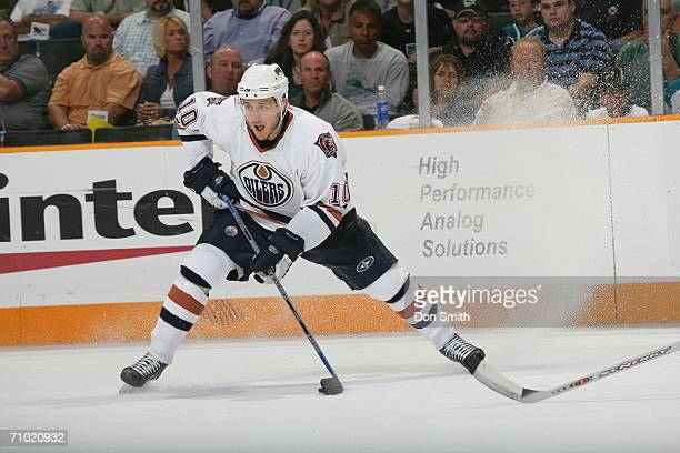 Shawn Horcoff of the Edmonton Oilers skates with the puck during game five of the Western Conference Semifinals against the San Jose Sharks on May 14...
