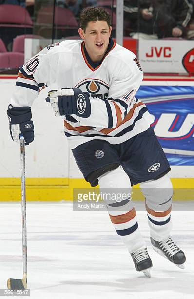 Shawn Horcoff of the Edmonton Oilers warms up against the New Jersey Devils during the NHL game at the Continental Airlines Arena on December 13 2005...
