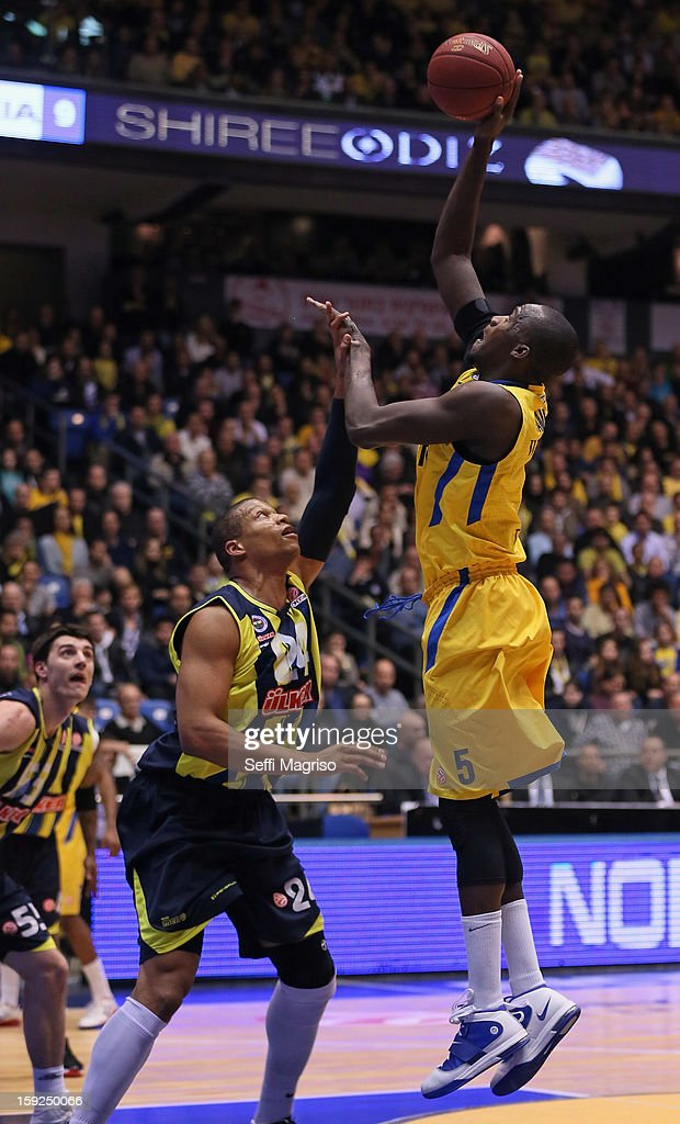 Shawn James, #5 of Maccabi Electra Tel Aviv competes with Mike Batiste, #24 of Fenerbahce Ulker Istanbul during the 2012-2013 Turkish Airlines Euroleague Top 16 Date 3 between Maccabi Electra Tel Aviv v Fenerbahce Ulker Istanbul at Nokia Arena on January 10, 2013 in Tel Aviv, Israel.