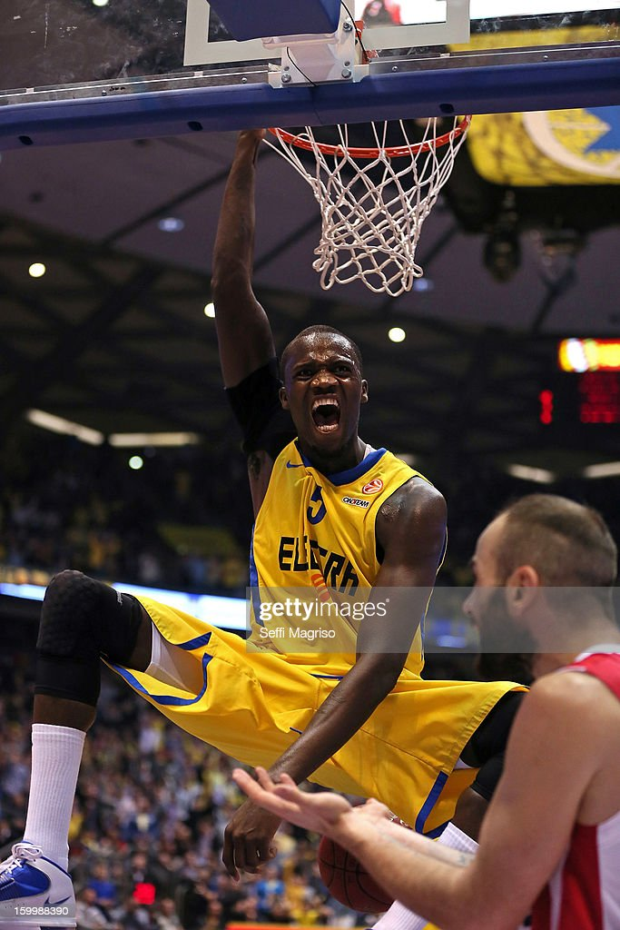 Shawn James, #5 of Maccabi Electra Tel Aviv in action during the 2012-2013 Turkish Airlines Euroleague Top 16 Date 5 between Maccabi Electra Tel Aviv v Olympiacos Piraeus at Nokia Arena on January 24, 2013 in Tel Aviv, Israel.