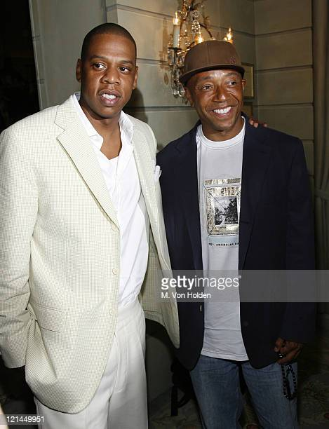 Shawn Jay Z Carter and Russell Simmons during Antonio LA Reid receives the UJA Federation of New York's Music Visionary Award at The Pierre Hotel...