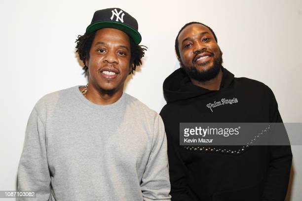 "Shawn ""Jay-Z"" Carter and Meek Mill attend the launch of The Reform Alliance at John Jay College on January 23, 2019 in New York City."