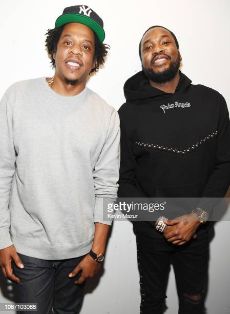 Shawn JayZ Carter and Meek Mill attend the launch of The Reform Alliance at John Jay College on January 23 2019 in New York City