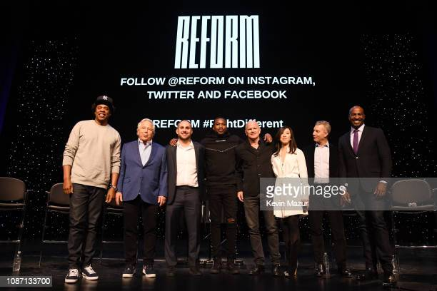 "Shawn ""Jay-Z"" Carter, Robert Kraft, Michael Rubin, Meek Mill, Michael Novogratz, Clara Wu Tsai, Dan Loeb, and Van Jones attend the launch of The..."