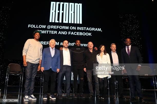 Shawn 'Jay-Z' Carter, Robert Kraft, Michael Rubin, Meek Mill, Michael Novogratz, Clara Wu Tsai, Dan Loeb and Van Jones attend Criminal Justice Reform...