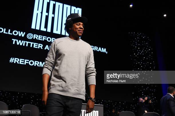 "Shawn ""Jay-Z"" Carter speaks onstage during the launch of The Reform Alliance at John Jay College on January 23, 2019 in New York City."