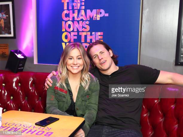 Shawn Johnson and Andrew East attend Bohemian Rhapsody's Get Loud Extravaganza at Whiskey a Go Go on February 12 2019 in Los Angeles California