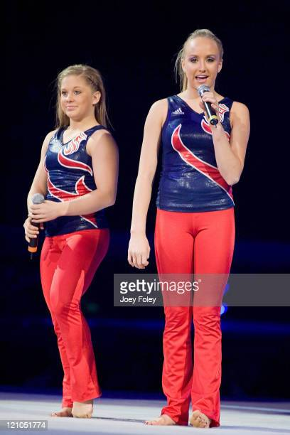 Shawn Johnson and Nastia Liukin during the Tour Of Gymnastics Superstars at the Conseco Fieldhouse on November 11 2008 in Indianapolis Indiana