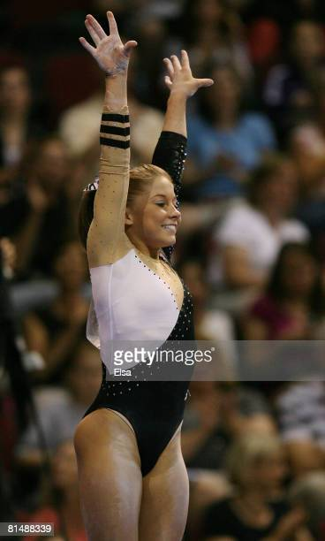 Shawn Johnson finishes her routine on the balance beam during day 3 of the Visa Championships at Agganis Arena June 7, 2008 in Boston, Massachusetts.