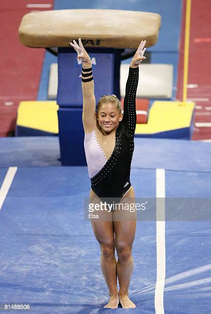 Shawn Johnson finishes her vault during day 3 of the Visa Championships at Agganis Arena June 7, 2008 in Boston, Massachusetts.