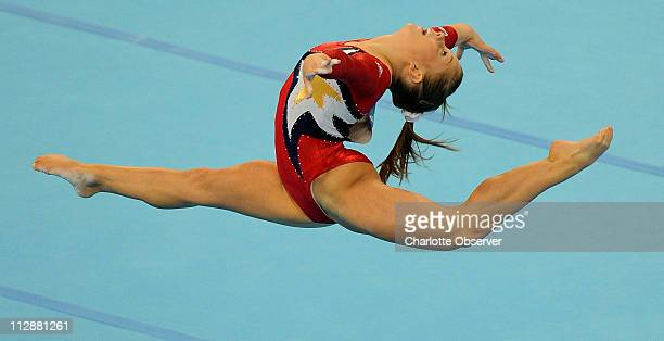 Shawn Johnson of the United States competes in the floor exercise during qualifying rounds on Sunday August 10 during the Games of the XXIX Olympiad...