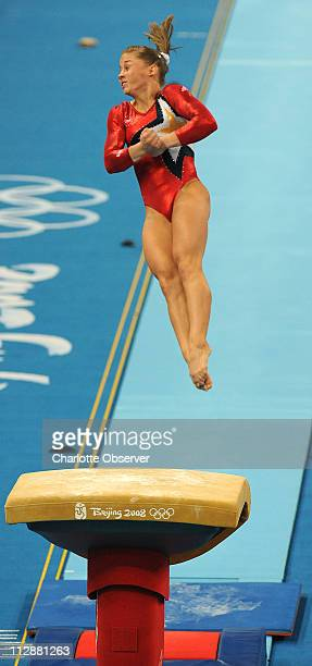 Shawn Johnson of the United States competes on the vault during qualifying rounds on Sunday August 10 during the Games of the XXIX Olympiad in...