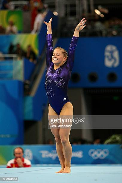 Shawn Johnson of the United States reats after finsihing her floor routine during the women's individual floor final in the artistic gymnastics event...