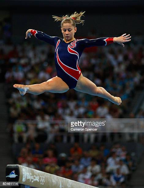 Shawn Johnson of the Untied States competes in the Women's Beam Final at the National Indoor Stadium on Day 11 of the Beijing 2008 Olympic Games on...