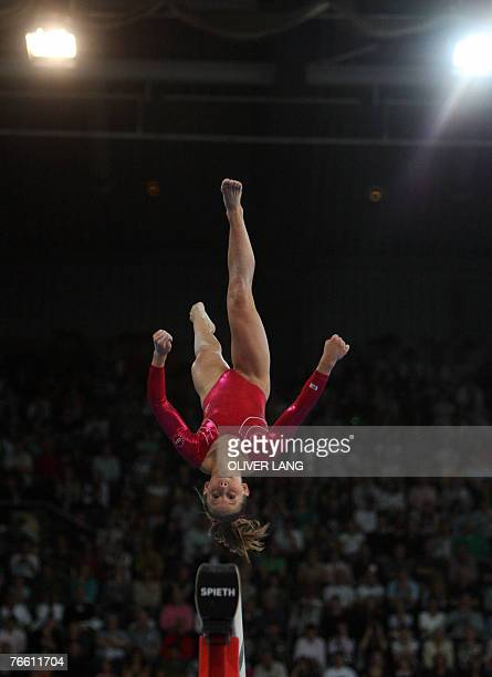 Shawn Johnson of the US competes on the beam during the women's apparatus final on the beam of the 40th World Artistic Gymnastics Championships 09...