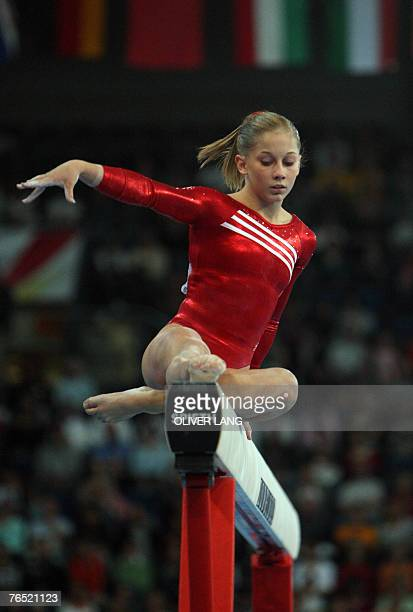 Shawn Johnson of the US competes on the beam during the women's team final of the 40th World Artistic Gymnastics Championships 05 September 2007 at...