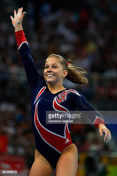 Shawn Johnson of the USA celebrates after competing in the Women's Beam Final at the National Indoor Stadium on Day 11 of the Beijing 2008 Olympic...
