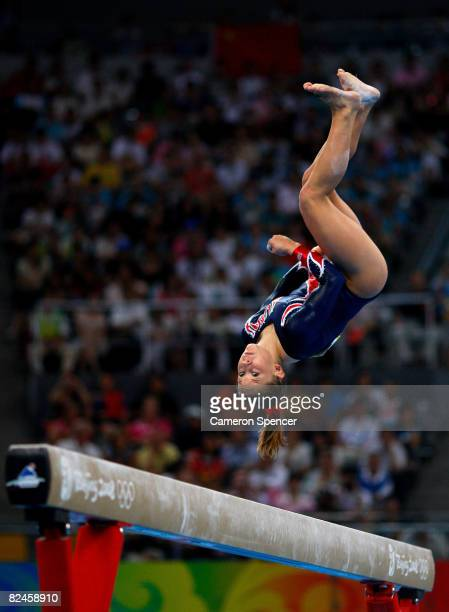 Shawn Johnson of the USA competes in the Women's Beam Final at the National Indoor Stadium on Day 11 of the Beijing 2008 Olympic Games on August 19...