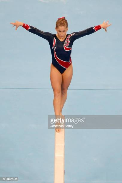 Shawn Johnson of the USA competes on the Women's Beam Final at the National Indoor Stadium on Day 11 of the Beijing 2008 Olympic Games on August 19...