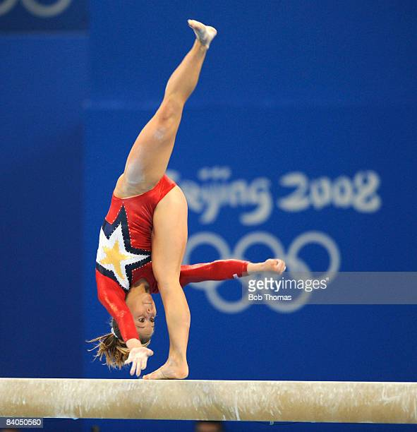Shawn Johnson of the USA on the balance beam during qualification for the women's artistic gymnastics event held at the National Indoor Stadium...