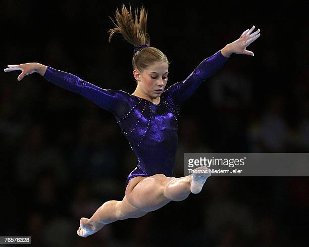 Shawn Johnson of the USA performs on the beam during the woman's individual finals of the 40th World Artistic Gymnastics Championships on September 7...