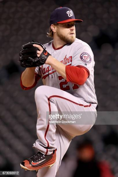 Shawn Kelley of the Washington Nationals closes out the Colorado Rockies in the ninth inning against the Colorado Rockies at Coors Field on April 25...
