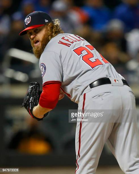 Shawn Kelley of the Washington Nationals in action against the New York Mets at Citi Field on April 16 2018 in the Flushing neighborhood of the...