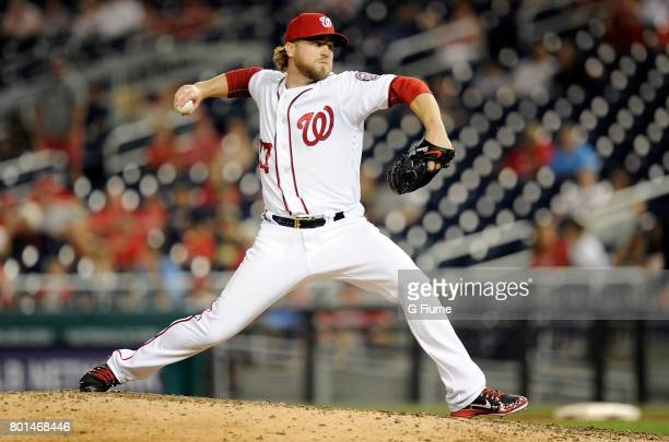 Shawn Kelley of the Washington Nationals pitches against the Atlanta Braves at Nationals Park on June 12 2017 in Washington DC
