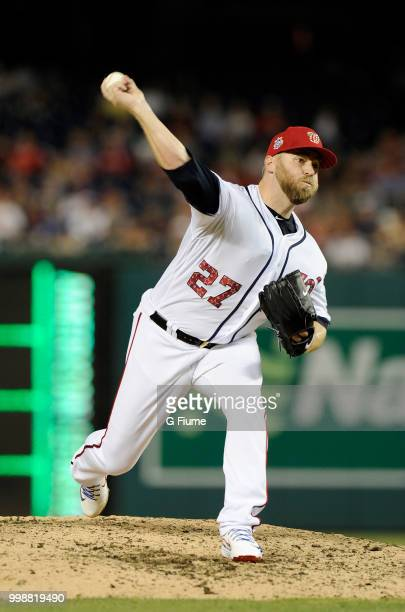 Shawn Kelley of the Washington Nationals pitches against the Boston Red Sox at Nationals Park on July 2 2018 in Washington DC