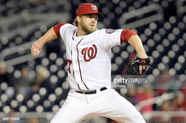 Shawn Kelley of the Washington Nationals pitches against the Miami Marlins at Nationals Park on April 6 2017 in Washington DC