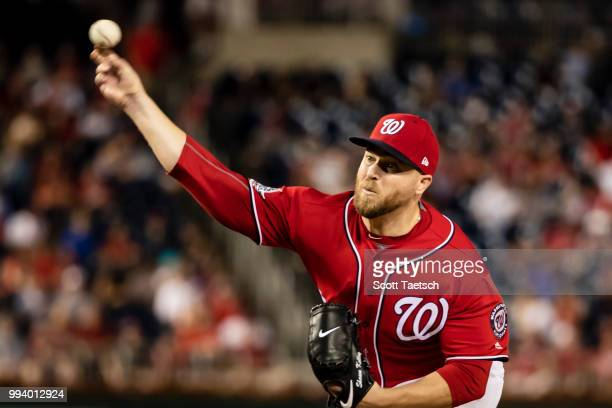 Shawn Kelley of the Washington Nationals pitches against the Miami Marlins during the eighth inning at Nationals Park on July 07 2018 in Washington DC