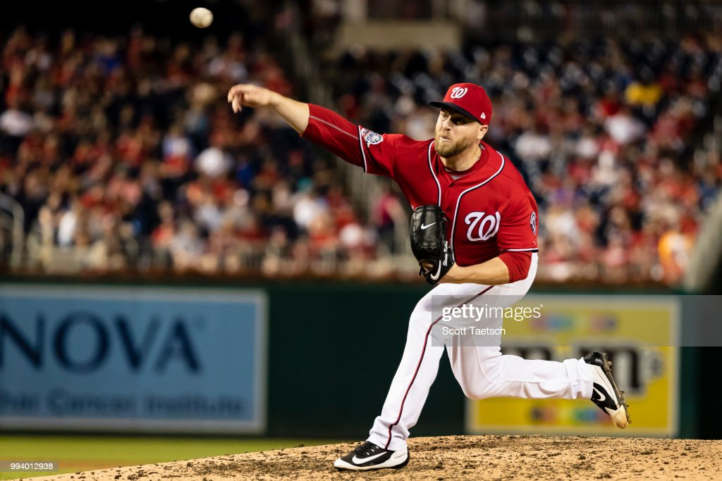 Shawn Kelley #27 of the Washington Nationals pitches against the Miami Marlins during the eighth inning at Nationals Park on July 07, 2018 in Washington, DC.