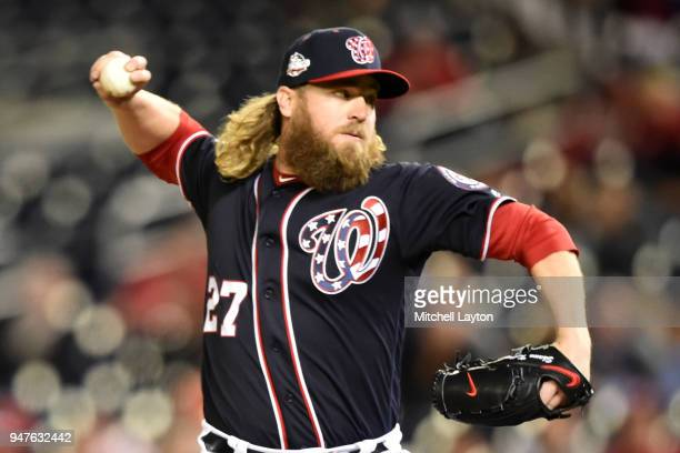 Shawn Kelley of the Washington Nationals pitches during a baseball game against the Colorado Rockies at Nationals Park on April 12 2018 in Washington...